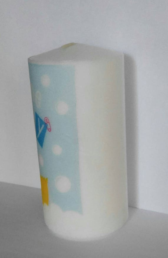 Gender Neutral Baby Gift Neutral Nursery Decor Welcome Baby 3x6 Pillar Candle Baby Shower Decor