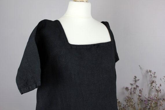 Dress - Old linen shirt black