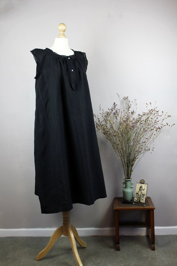 Dress - Old linen shirt black blue - image 5