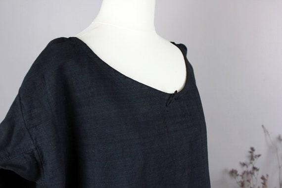 Dress - Old linen shirt black L
