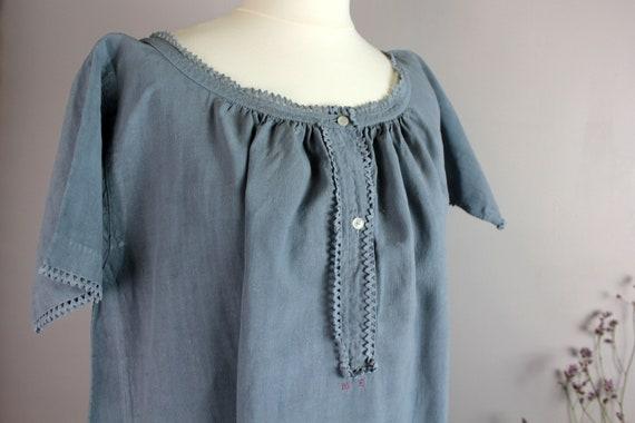 Dress - Old blue linen shirt - image 2