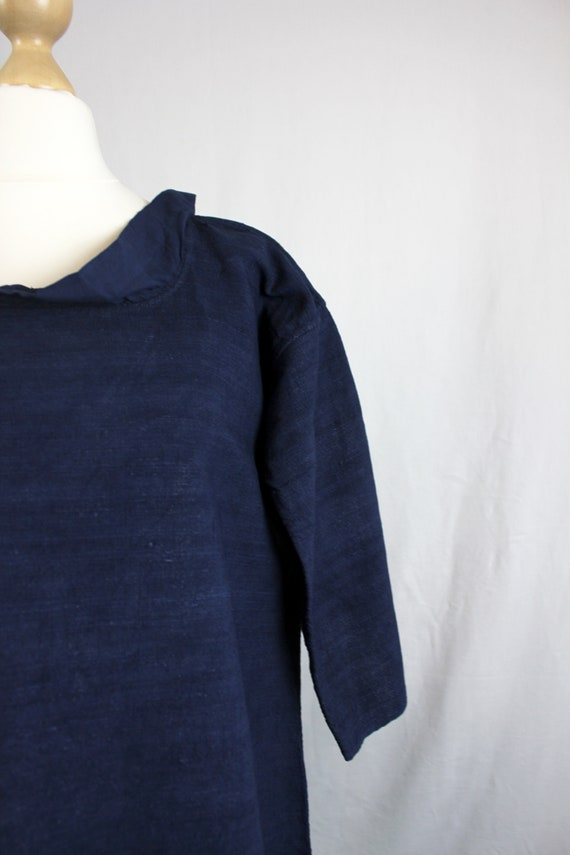 Dress - Old linen shirt blue - image 4
