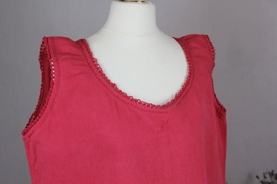 Dress - Old linen shirt pink red L