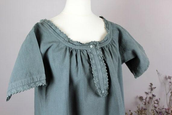 Dress - Old linen shirt green grey