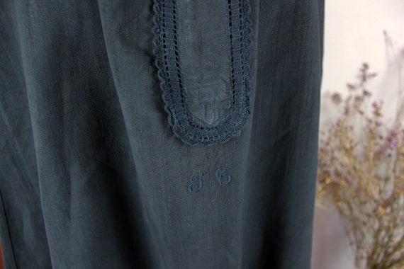 Dress - Old linen shirt black blue - image 4