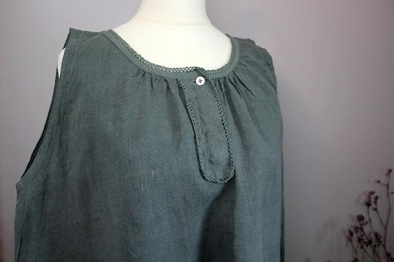 Dress - Old green/grey linen shirt
