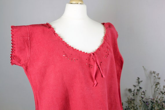Dress - Old linen shirt pink red S