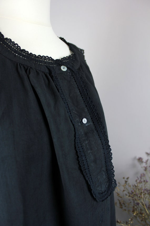 Dress - Old linen shirt black blue - image 3