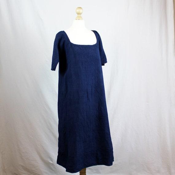 Dress - Old linen shirt blue