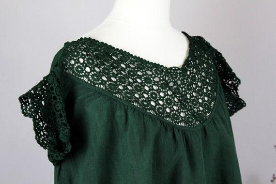 Dress-Old linen shirt green XS