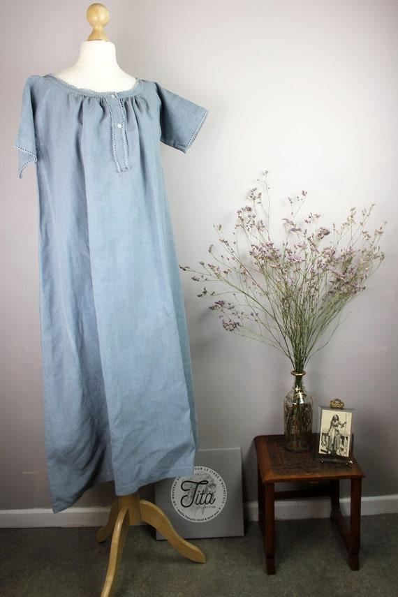 Dress - Old blue linen shirt - image 6