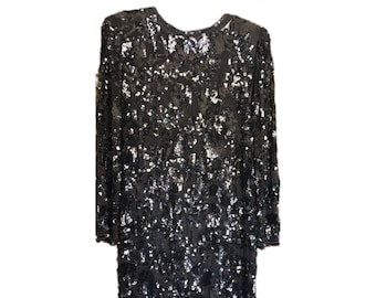 Black Sequin and Beaded Dress