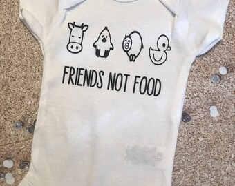 4f1925843 Organic Baby Onesie/Vegan Baby Onesie/Vegetarian Baby Onesie/ Baby  Clothing/ Baby Shower Gift /Friends not Food