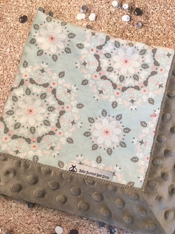 e44b85e8e2 Baby Lovey Blanket Vintage Inspired Print Cotton and Minky