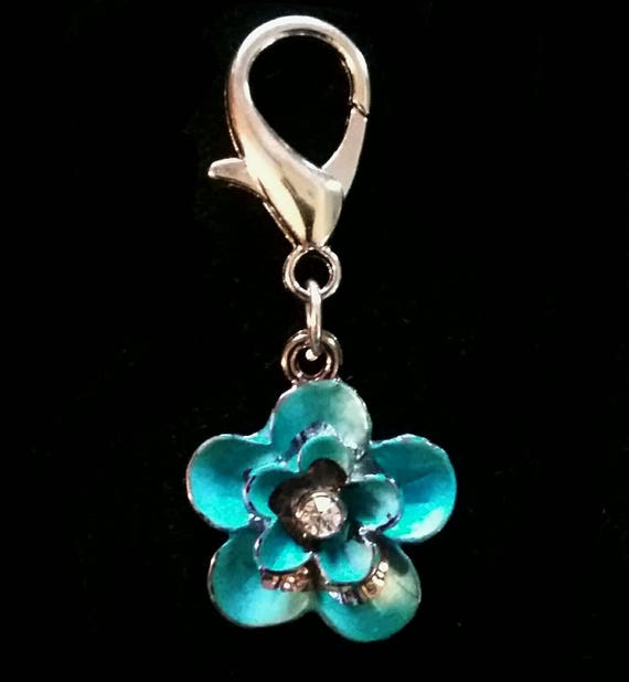 rhinestoned flower charm purse charm horse bling bridle clip pony charm bridle charm bridle accessory Teal and silver horse charm