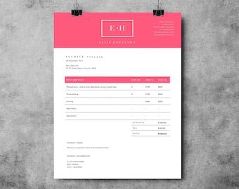 photographer invoice template invoice design receipt etsy