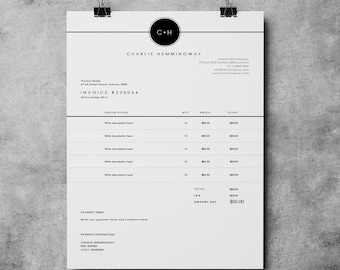 Invoice Template Etsy - Printable invoice template word online dollar store