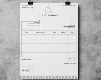 invoice template receipt template invoice instant download microsoft word photoshop
