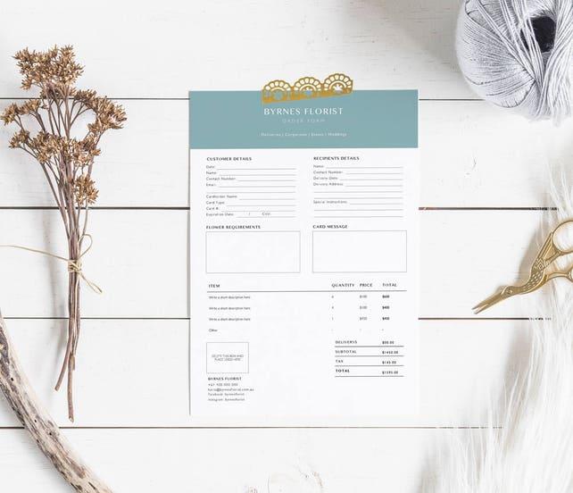 Florist Bestellung Formularvorlage Florist Vorlage   Etsy