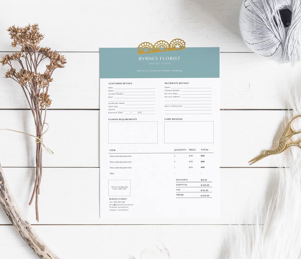 Plantilla de formulario de pedido Floreria Plantilla de | Etsy