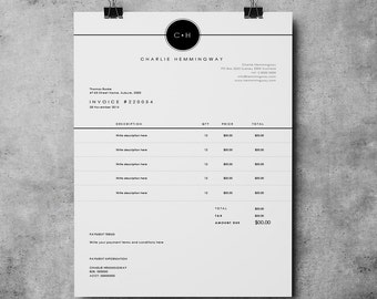 Invoice Template | Invoice Design | Receipt | MS Word Invoice template| Photoshop Invoice template | Printable Invoice