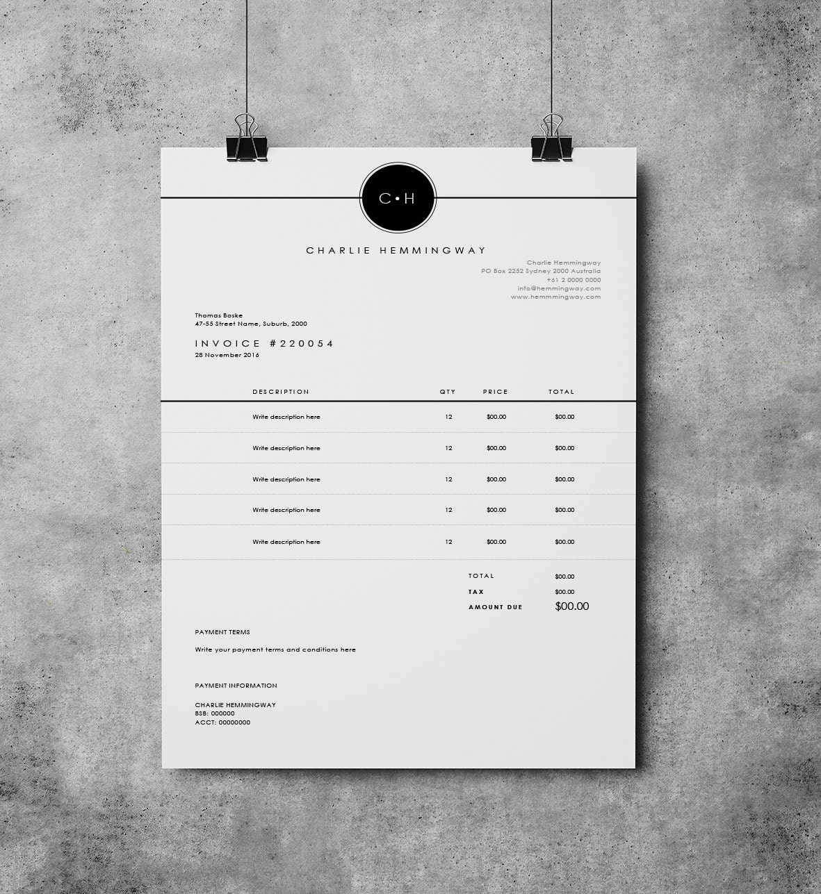 Rechnung Vorlage Rechnung Design Zahlungseingang MS Word | Etsy
