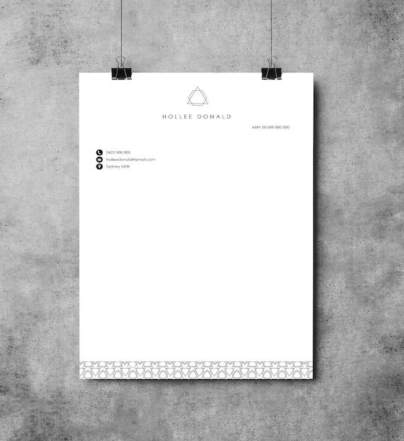 Briefkopf Ms Word Muster Druckbare Briefkopf Vorlage Etsy