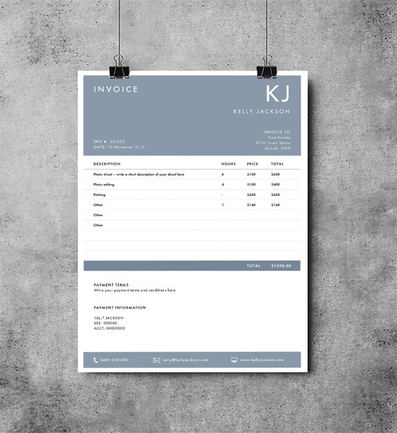 Invoice Template Invoice Design Receipt Printable Etsy