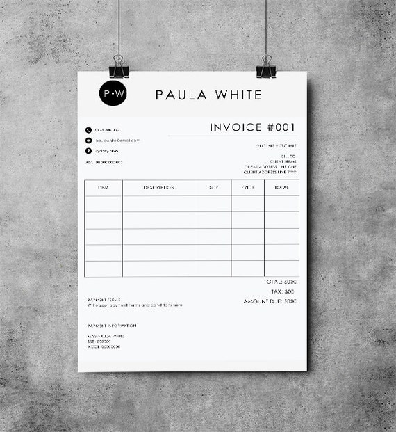 Invoice Template Receipt MS Word and Photoshop Template | Etsy
