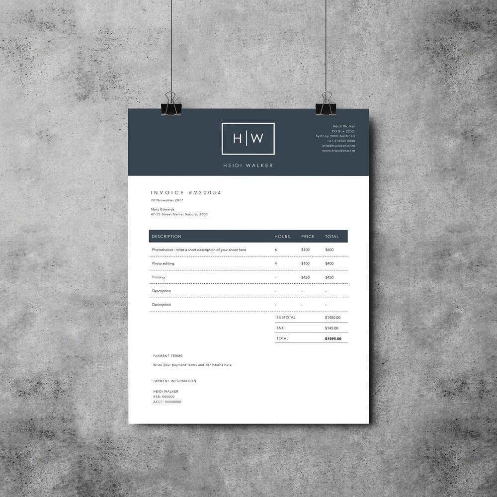 Plantilla de factura fotógrafo Diseño de factura Recibo | Etsy