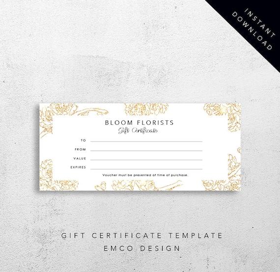 bloom gift certificate template florist gift voucher etsy