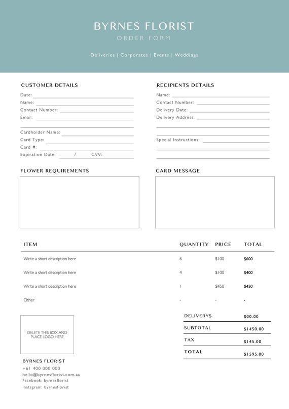 Plantilla de formulario de pedido Floreria Plantilla de