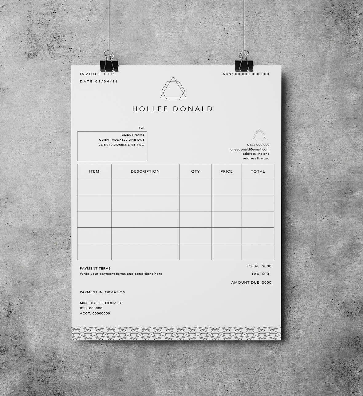 Plantilla de factura Recibo plantilla Descarga inmediata | Etsy
