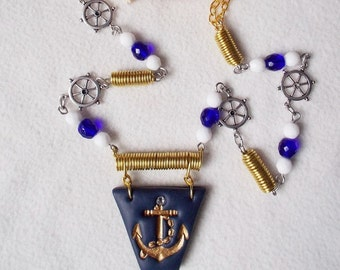 Necklace sailor style with Golden anchor patterns ship wheel, jewel spirit cruise travel, Golden anchor pendant french Nautical jewelry