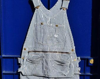 2cf241e57957 VTG 60s 70s LEE Hickory Stripe Sanforized Denim Painter   Decorator Bib  Overalls Dungarees Workwear Union Made USA Large W36 W38 L31