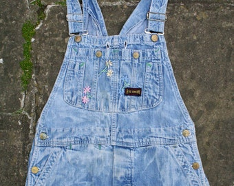 Vtg 60s BIG SMITH Sanforized Denim EMBROIDERED Bib Overalls Dungarees Hippie Workwear Union Made L30.5 Small