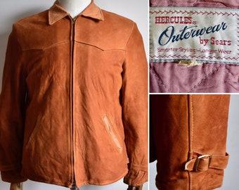 337809c24e7 Vtg 1950s HERCULES By SEARS Outerwear Burnt Orange Suede Leather Jacket  Coat Rockabilly Hot Rod Americana 40