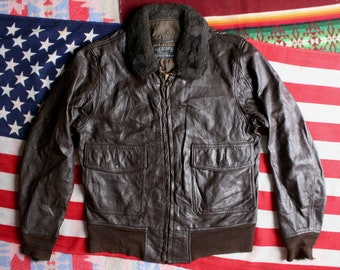1c11914d1da Vtg 1972 US NAVY Type G-1 Brown Goatskin Leather FLIGHT Bomber Jacket Star  Sportswear Military Coat Size 38 40