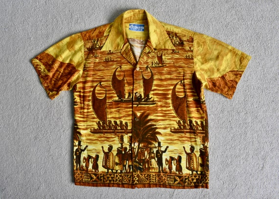 Vtg 60s WALTAH CLARKE Yellow Cotton Indigenous Isl