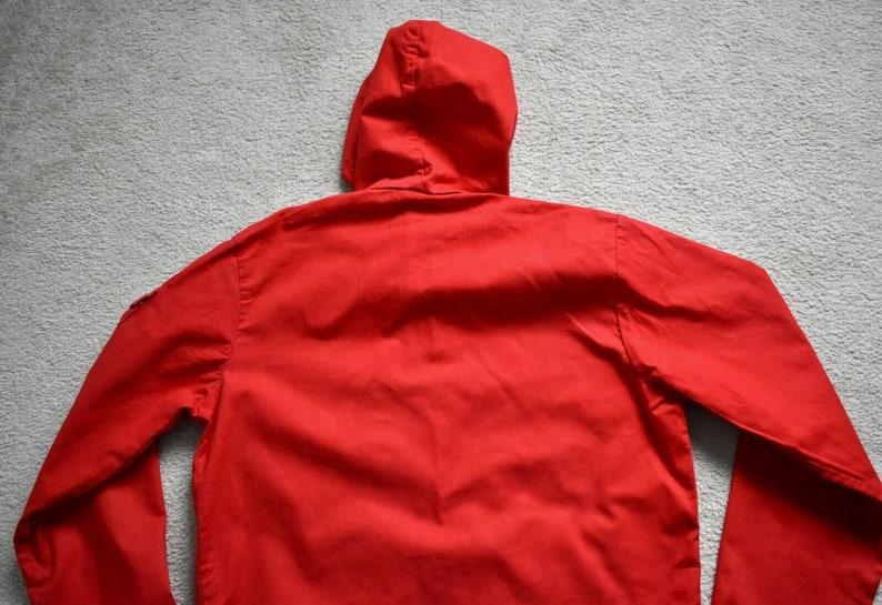 Vtg 70s OSHKOSH Lightweight Red Cotton Talon Zip Hooded Smock Parka Jacket Womens Medium 1214
