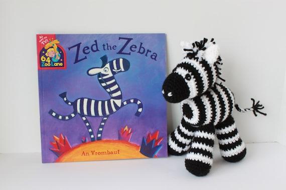 Crochet Zebra With Story Book Zed The Zebra Stuffed Toy Etsy