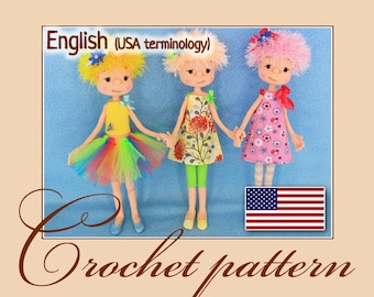 Hope, Faith and Love - Amigurumi Crochet Doll Pattern PDF file by Anna Sadovskaya