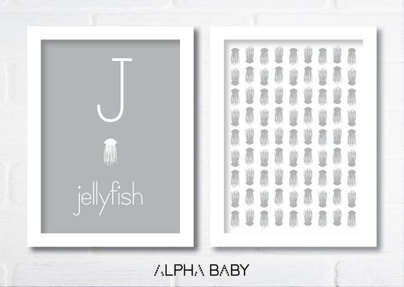 J for JELLYFISH Poster Set