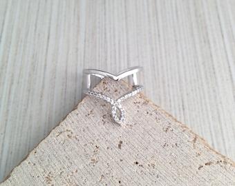 Chevron Ring,Silver Chevron Ring,Double Ring,Silver Double Ring,Cubic Double Band Ring,Cubic Band Ring