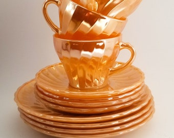 Fire King Peach Lustreware Dessert Dishes and Cup and Saucer Set. 4 plates. 4 cups. 4 saucers.