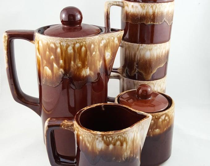 NEW PRICE Vintage Chestnut Drip Glaze Coffee Set