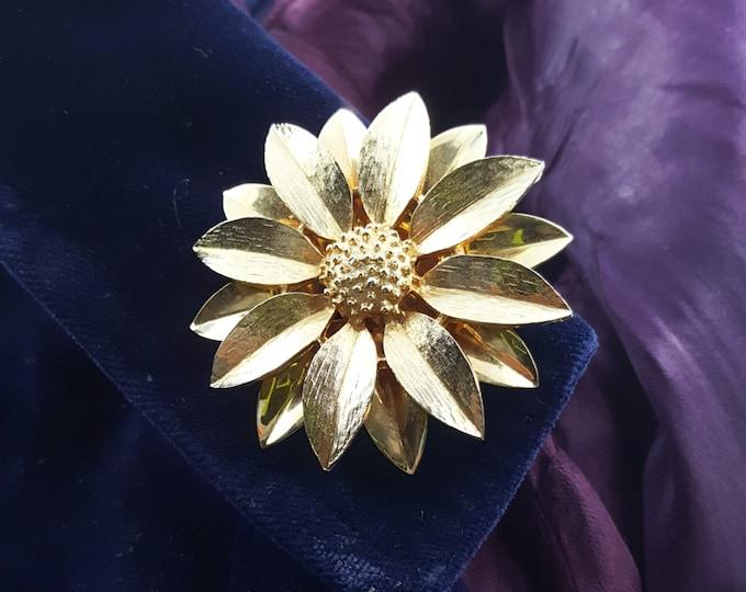 "Sarah Coventry ""Satin Petals"" Gold Flower Brooch"