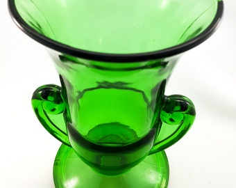 Moulded Emerald Green Glass Flower Vase