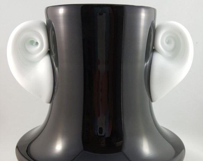 NEW PRICE!!  Fabulous Whimsical Black and White Hand Blown Glass Vase