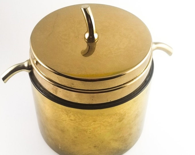 Small Brass Mid Century Ice Bucket with Knobs and Handles in Organic Twig form. 1960's Retro Ice Bucket. Vintage Breweriana